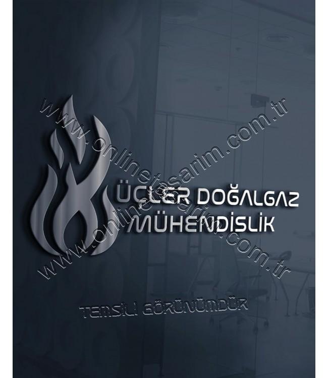 Mühendislik, Doğalgaz Firması Logo Örneği - Ateş, Alev, Yuvarlak, Çark Logo (380 TL) Online Tasarım Matbaa