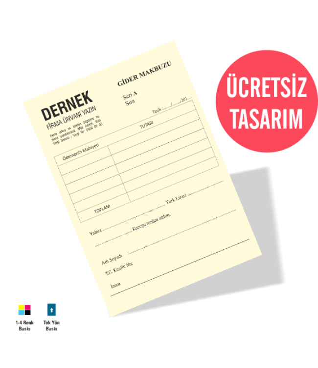 Dernek Gider Makbuzu Form Kalite Baskı Online Matbaa