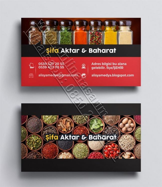Baharat, Aktar, Kuruyemiş, Doğal Ürünler Kartvizit Tasarım Örnekleri, Kartvizit Modelleri